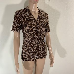 Lafayette 148 Animal Print Stretch Blouse NWT S